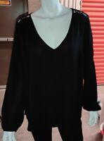 TORRID Women's  Large Top Black Long Sleeve Lace Back  Blouse Hi-Lo Hem Size 0