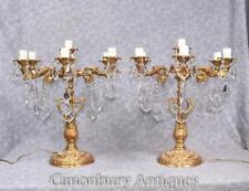 Pair Louis XVI Gilt Candelabras Table Lamps Ormolu
