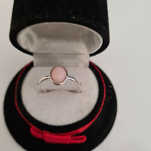 Peruvian Pink Opal Solitaire Ring in Sterling Silver