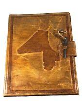 Mali Map Vintage Tuareg Leather Folder /Made in Mali/ Meeting Handmade Leather