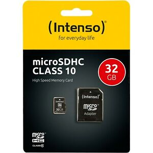 32GB Microsd Speicherkarte 32 GB Class 10 Intenso SDHC + SD Adapter