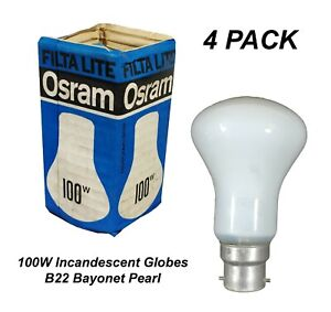 4 x 100W Pearl Incandescent Light Globes Bulbs B22 Bayonet Warm White Dimmable