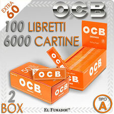 6000 CARTINE OCB ORANGE CORTE - 2 BOX 100 Libretti da 60 Fogli - ARANCIONI