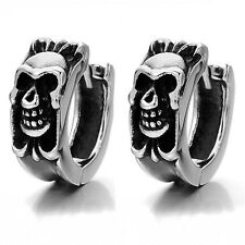 MENDINO Vintage Men's Stainless Steel Gothic Skull Fleur de lis Huggie Earrings