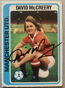 Signed 1970s Topps Trading Card David McCreery Blue Back Manchester United