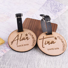 2pcs Personalised Wooden Luggage Tags Mr and Mrs Round Suitcase Tags