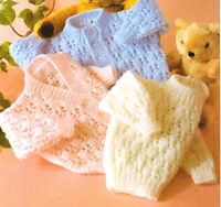 "Pretty Eyelet Baby Cardigans & Sweater DK 16"" - 22"" ~  Knitting Pattern"