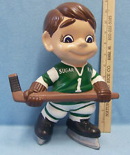 Completed Painted Pottery Ceramic Hockey Player Green Jersery Sugar Ray 1