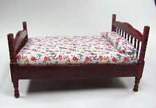 1:12 - Schönes Miniatur Doppelbett mit Matratze - Mahagoni - Puppenhaus Miniatur