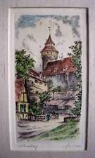 Nuremburg ORIGINAL HAND COLOR ETCHING, FRAMED