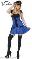 Costume Travestimento Da Donna Poliziotta Vestito Mini Abito Minigonna Cappello