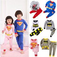 2PCS Baby Kids Boys Girls Superhero Nightwear Sleepwear Toddler Pj's Pajamas Set