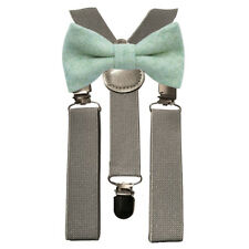 Matching Braces and Vintage Green Wool Bow Tie Set Kids Children Boys