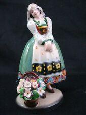 Porcelain Figurine Lady Vintage Italian Woman w/ Flower Basket Italy