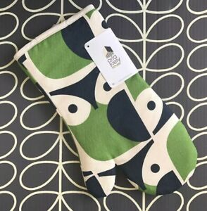ORLA KIELY Green Owl Oven Glove Mitt Gauntlet - NEW with Tags ~ Sealed