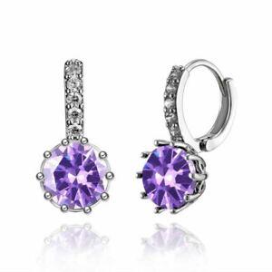 New Silver 10mm Round Amethyst Purple CZ w/ Crystal Accents Hoop Dangle Earrings