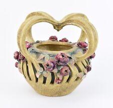 Riessner Kessel Amphora Teplitz Art Nouveau Pottery 4-Handled Basket Vase