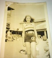 Antique American Beautiful Girl Swimsuit Jersey Shore Beach Snapshot Photo! US!