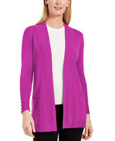 JM Collection Women's Button Sleeve Flyaway Cardigan Pink Size Extra Large
