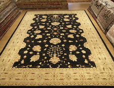 10 x 14 Handmade Hand Knotted Black Oushak Rug Vegetable Dye Handspun Fine Wool