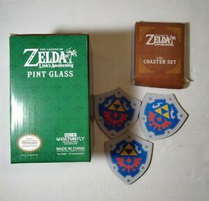#NEW Legend Of Zelda Link's Awakening (Pint Glass/Cup x3 Hyrule Shield Coasters)