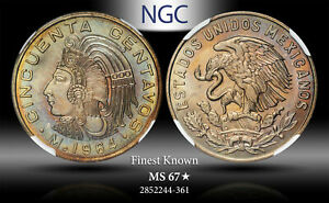 1964-MO MEXICO 50 CENTAVOS NGC MS 67* STAR TONED FINEST KNOWN GRADE WORLDWIDE