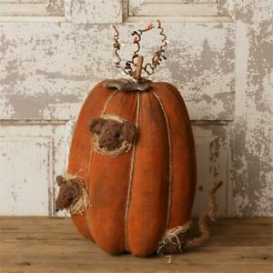 New Primitive Fall Halloween Rat Mouse GRUNGY PUMPKIN WITH MICE Sitting Figure