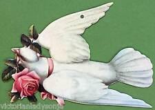 Victorian Christmas Ornament Dove w/Rose