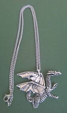 pewter pendant, dragon design, hand made in Cornwall with surgical steel chain