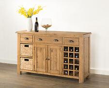 Hartfield Chunky Wood Rustic Oak Large Sideboard With Wine Rack & Baskets