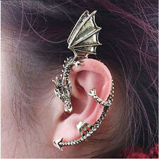 Fashion Dragon Ear Cuff Wrap Clip Alloy Silver tone No Piercing Needed-left Ear