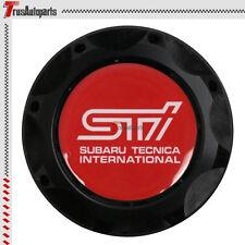 Black Aluminum Engine Oil Fuel Filter Tank Cap Cover Red Sti Emblem For Subaru