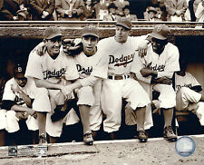 BROOKLYN DODGERS ICONS JACKIE ROBINSON DUKE SNIDER PEE WEE REESE ON DUGOUT STEPS