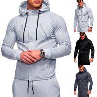 Men's Long Sleeve Hooded Hoodie Slim Fit Sports Sweatshirt Outwear Jacket Coats