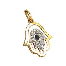 14K YELLOW GOLD PAVE SAPPHIRE DIAMOND HAMSA HAND GOD EVIL EYE PENDANT NECKLACE