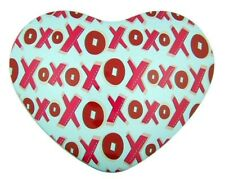 Xoxo Hugs & Kisses Lid Heart Shape Pink Red Tin for Candy or Valentines Day Gift