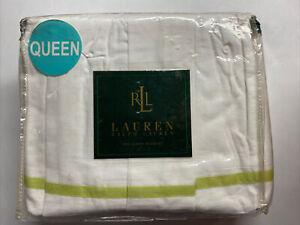 NEW Ralph Lauren QUEEN Bedskirt CRYSTAL CAY Voile White w/ Green Stripe