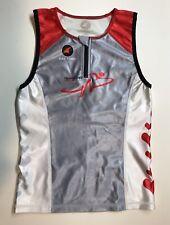 New listing Women's Medium Pactimo Triathlon Race Top Red Gray White Shelf Bra Hearts Tri