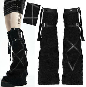 Flare faux fur leg warmers gothic punk lolita rock cyber straps trendy PunkRave