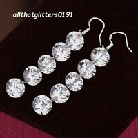 Stunning Five Clear Bead Silver Plated 5 cm  Drop Earrings