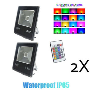 2X floodlight 50W LED RGB Flood Light IP65  Outdoor 16 Colors Remote Control
