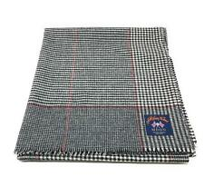 Pure Wool Tweed Blanket/Bedspread/Throw Black and White Check