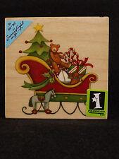 Rubber Stamp Susan Winget Sleigh Christmas Teddy Bear