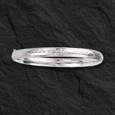 """14Kt White Gold Florentine Etched Hinged Bangle/Bracelet 7"""" 5 mm 3/16"""" 4.6 grams"""