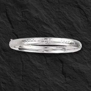 """14Kt White Gold Florentine Etched Hinged Bangle/Bracelet 7""""  5 mm 3/16 4.6 grams"""