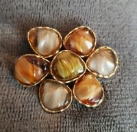 Vintage Goldtone SPHINX Glass Agate Stone Abstract Statement Brooch Pin
