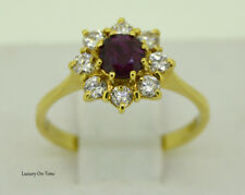"AMAZING ""DIANA"" CLASSIC CLUSTER 0.90CT RUBY+0.59CT DIAMONDS 18K Y.GOLD RING."