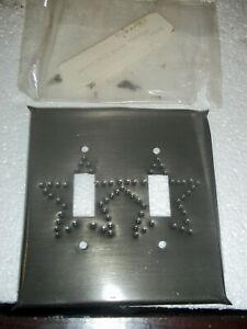 2 GANG GRAY TOGGLE SWITCH WALLPLATE WITH STAR DESIGN NO SCREWS