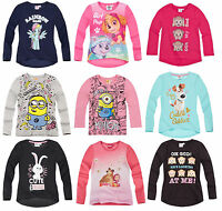 Girls Kids Official Licensed Disney Various Character Long Sleeve T Shirt Top