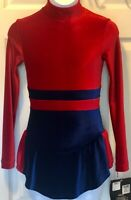 GK LgSLV RED BLUE VELVET CHILD LARGE TURTLENECK KEYHOLE FIGURE SKATE DRESS CL